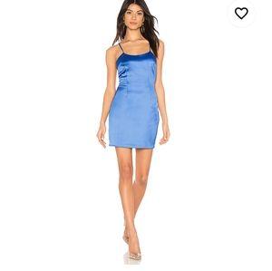 Revolve Superdown Yve Satin Dress in Cobalt Blue